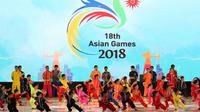 Logo Asian Games 2018_Hari Olah Raga Nasional_(Bola.com/Arief Bagus)