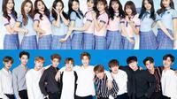Sama-sama jebolan Produce 101, IOI dan Wanna One bertemu dalam Produce 48. (Soompi)
