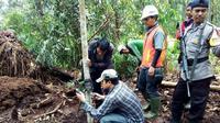 Petugas BBKSDA Riau bersama TNI dan Polri mengecek keberadaan harimau di Desa Tanjung Simpang, Indragiri Hilir. (Liputan6.com/M Syukur)