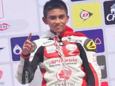 Mario Suryo Aji mencetak sejarah di Asia Road Racing Championship (ARRC) 2018 di Buriram International Circuit, Thailand. Ia jadi pembalap termuda yang pernah mengikuti ajang balap bergengsi di Asia tersebut. (instagram.com/marios.a96/)