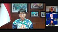"""Menteri Luar Negeri RI pada sesi Pembukaan pertemuan virtual Challenges Annual Forum (CAF) dengan tema """"Framing Peace Operations in a Changing Global Landscape"""", pada tanggal 7 Desember 2020. (Dok: Kemlu RI)"""