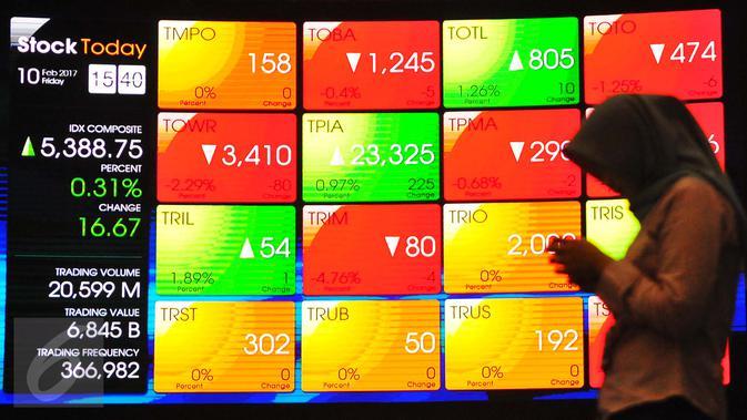 Pengunjung melintasi layar pergerakan saham di Bursa Efek Indonesia, Jakarta, Jumat (10/2). (Liputan6.com/Angga Yuniar)#source%3Dgooglier%2Ecom#https%3A%2F%2Fgooglier%2Ecom%2Fpage%2F%2F10000