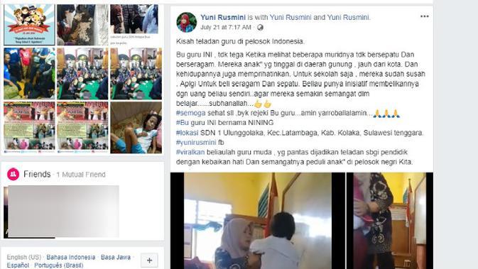 Nining memberikan seragam gratis kepada muridnya di SDN 1 Ulunggolaka, Kecamatan Latambaga, Kabupaten Kolaka, Sulawesi Tenggara. (Solopos.com/Facebook/Yuni Rusmini)