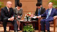 PM Scott Morrison menggelar pertemuan bilateral dengan Wapres China Wang Qishan di sela-sela pelantikan Presiden RI Joko Widodo di Jakarta, Minggu (20/10/2019) (Kedubes Australia)