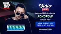 Live streaming Main Bareng GTA V Online bersama Pokopow, Senin (15/3/2021) pukul 15.00 WIB dapat disaksikan melalui platform Vidio, laman Bola.com, dan Bola.net. (Dok. Vidio)