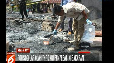 33 rumah adat di Desa Wetumanu, Kecamatan Jerebu'u, Kabupaten Ngada, NTT, terbakar.