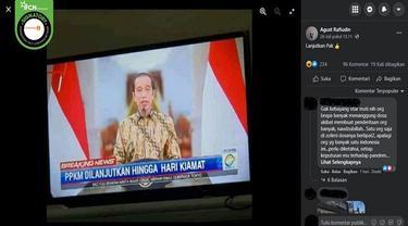 Gambar Tangkapan Layar Kabar tentang PPKM Diperpanjang hingga Hari Kiamat (sumber: Facebook).