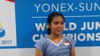 Gregoria Mariska Tunjung mengalahkan Hirari Mizui pada babak tiga Kejuaraan Dunia Junior 2017. (Liputan6.com/Switzy Sabandar)