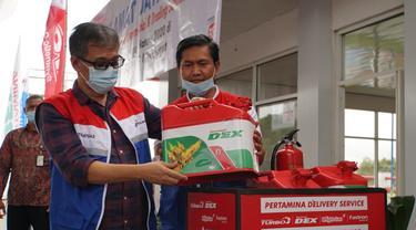 Komisaris PT Pertamina Patra Niaga, Muhammad Yusni bersama Direktur Pemasaran Pusat dan Niaga, Hasto Wibowo mengunjungi TBBM Medan Group berada di Jalan KL Yos Sudarso Medan. (Foto: Pertamina)
