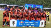 Tim Perseru jelang menjamu Mitra Kukar di leg pertama babak 32 besar Piala Indonesia 2018 di Stadion Marora, Serui, Minggu (27/1/2019). (Bola.com/Gatot Susetyo)
