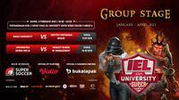 Putaran kedua IEL University Super Series 2021 fase Grup A, Kamis (4/2/2021) pukul 17.00 WIB dapat disaksikan melalui platform Vidio, laman Bola.com, dan Bola.net. (Dok. Vidio)
