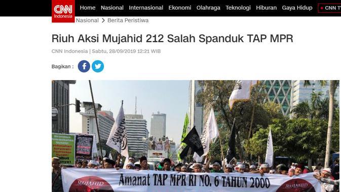 Foto spanduk soal Tap MPR nomor 6 Tahun 2000 yang dimuat CNN Indonesia (Screengrab)