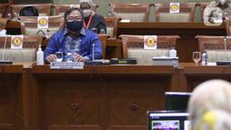 Menteri Riset dan Teknologi Bambang Brodjonegoro menghadiri  rapat kerja di ruang rapat Komisi XI DPR RI, kompleks parlemen, Jakarta, Rabu (3/2/2021).  Vaksin covid-19 Merah Putih baru dapat digunakan pada tahun 2022. (Liputan6.com/Angga Yuniar)