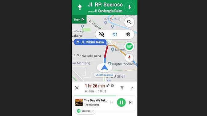 Google Maps dan Spotify (screenshot)