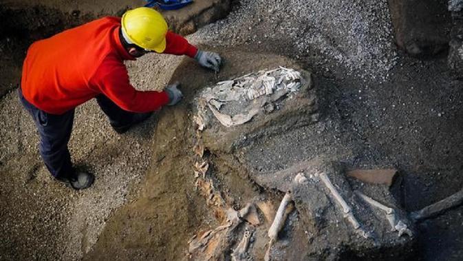 Seorang arkeolog memeriksa sisa-sisa kerangka kuda di situs arkeologi Pompeii, Italia, Minggu, 23 Desember 2018. (CESARE ABBATE / AP)