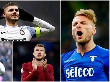 Berikut ini top scorer Serie A Italia 2017/2018 hingga pekan ke-29, Striker Lazio, Ciro Immobile berada di Puncak dibuntuti kapten Inter Milan, Mauro Icardi. (Kolase foto-foto dari AFP dan AP)