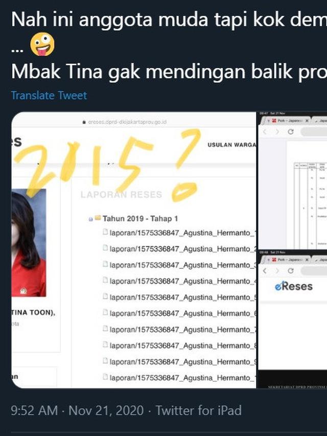 Cuitan warganet tentang laporan reses Tina Toon. (Twitter/ elisa_jkt)