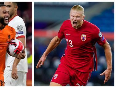 Foto: Sama-sama Ciptakan Hattrick, Memphis Depay dan Erling Haaland Pesta Gol Bareng Negaranya di Laga Kualifikasi Piala Dunia 2022