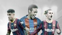 Philippe Coutinho, Neymar dan Antoine Griezmann. (Bola.com/Dody Iryawan)