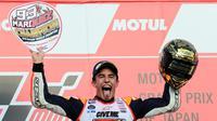 Pebalap Repsol Honda, Marc Marquez, menyegel titel juara dunia MotOGP 2016 di Sirkuit Motegi, Jepang, Minggu (16/10/2016). (EPA/Kimimasa Mayama)
