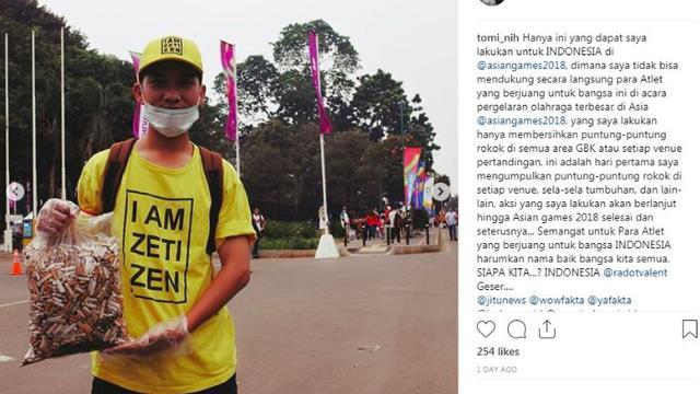 Banjir Pujian, Pria Ini Punguti Rokok Selama Asian Games 2018