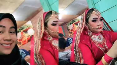 Seorang ibu berdandan ala Bollywood saat berbuka puasa.