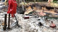 Salah satu lokasi sumur minyak liar di Desa Pompa Air, Kabupaten Batanghari, Provinsi Jambi. (Liputan6.com/B Santoso)