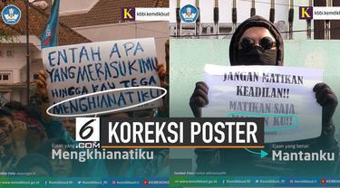 Kemendikbud melalui akun twitter resmi memberikan koreksi terhadap ejaan di poster yang dibawa mahasiswa saat demo tolak revisi Undang-Undang.
