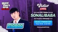 Live streaming Main Bareng GTA V Online, Sealasa (9/2/2021) pukul 19.00 WIB dapat disaksikan melalui platform Vidio. (Dok. Vidio)