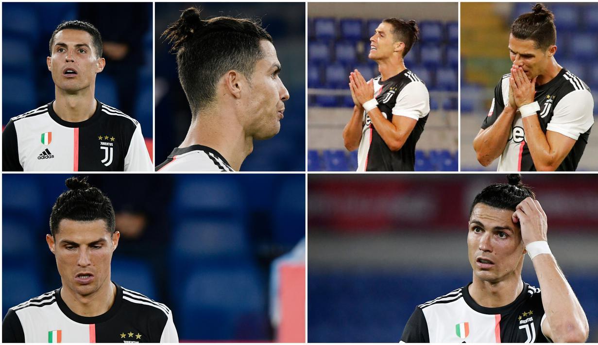 Bintang Juventus, Cristiano Ronaldo, tak mampu menyembunyikan rasa kecewa usai ditaklukkan Napoli. Berikut ini wajah-wajah kecewa Ronaldo setelah gagal membawa Juventus menjuarai Coppa Italia 2020.