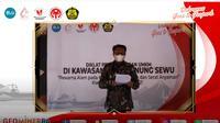 Kepala Badan PPSDM Bambang Utoro saat menyampaikan sambutannya di acara Diklat Pengembangan UMKM di Kawasan UNESCO Global Geopark (UGGp) Gunung Sewu, Senin (25/10/2021).