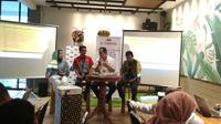 Talkshow JNE Kopiwriting membahas optimalisasi UMKM Kota Cirebon di Era Digital. Foto (Liputan6.com / Panji Prayitno)