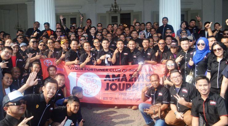 Toyota Fortuner Club of Indonesia (ID42NER) menggelar acara HUT ke-10 keliling Jakarta. (Istimewa)