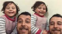 Lelaki di Suriah ajari anaknya permainan agar bisa tertawa saat bom jatuh di sana (Dok.Twitter/@Ali_Mustafa/https://twitter.com/Ali_Mustafa/status/1229335068084142081/Komarudin)