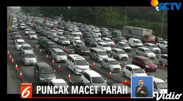 Untuk mengurai kemacetan yang cukup parah, pihak Lantas Polres Bogor memberlakukan sistem buka tutup satu arah dari arah Jakarta menuju arah Puncak.