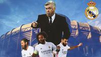 Real Madrid - Carlo Ancelotti, Sergio Ramos, Karim Benzema, Marcelo (Bola.com/Adreanus Titus)