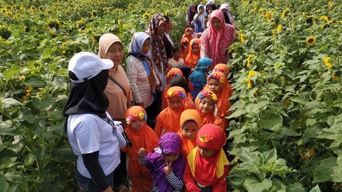 Bermain di Taman Bunga Matahari (Liputan6.com/Dian Kurniawan)