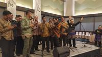 Amran Sulaiman menggelar perpisahan dengan jajaran Kementerian Pertanian (Kementan) di IPB International Convention Center, Bogor, Jawa Barat. (Liputan6.com/Achmad Sudarno)