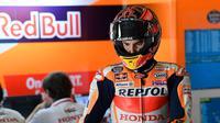 Pembalap Repsol Honda, Marc Marquez mulai menatap MotoGP Belanda 2018 di Sirkuit Assen. (Twitter/Repsol Honda Team)