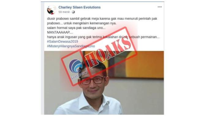 Hoaks Sandiaga Uno diusir Prabowo karena tak setuju deklarasi. Dok: Kemkominfo