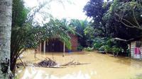 Banjir yang merendam salah satu rumah di Kabupaten Rokan Hulu karena luapan sungai. (Liputan6.com/M Syukur)