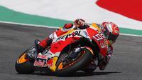 Pembalap Repsol Honda, Marc Marquez, hanya menempati posisi start keenam pada MotoGP Italia di Sirkuit Mugello, Minggu (3/6/2018). (Twitter/Repsol Honda Team)
