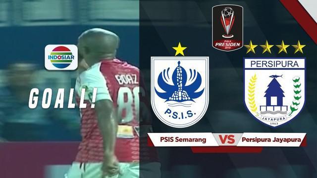 Berita video momen gol striker Persipura Jayapura, Boaz Solossa, ke gawang PSIS Semarang pada fase grup C Piala Presiden 2019, Rabu (6/3/2019).