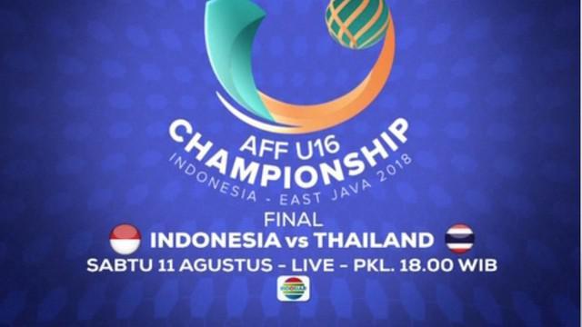 Berita video laga Final Piala AFF U-16 2018, Timnas Indonesia vs Thailand, hanya di Indosiar pada pukul 18.00 WIB