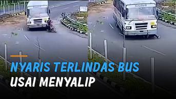 VIDEO: Ngeri, Pemotor Nyaris Terlindas Bus Usai Menyalip Sembarangan