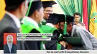 Bukhari naik ke podium wisuda yang digelar Universitas Islam Negeri (UIN) Arraniry Banda Aceh, Kamis (27/2/2019). (Liputan6.com/ Rino Abonita)