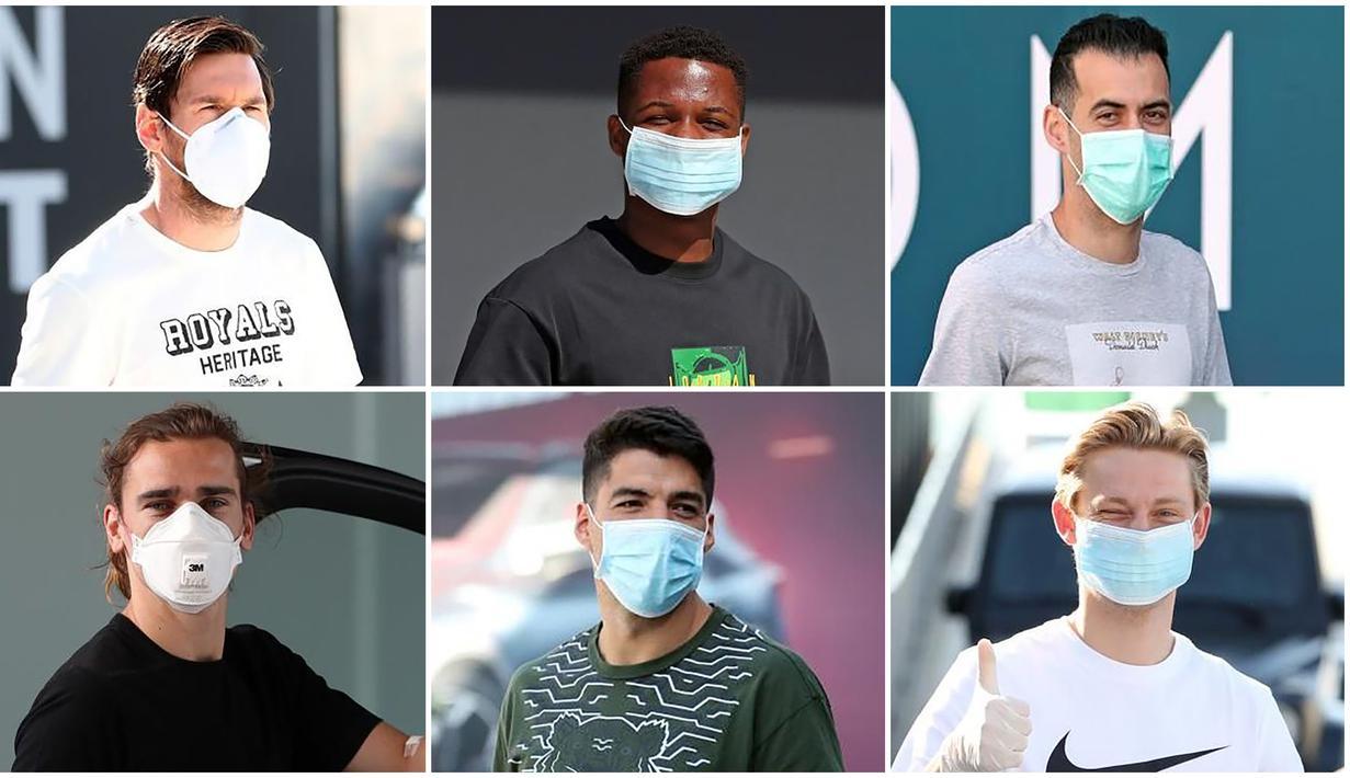 Sejumlah pemain Barcelona tiba di Pusat Latihan Barcelona untuk melakukan tes Covid-19 sebelum kembali melakukan sesi latihan. (Foto Kolase AFP)