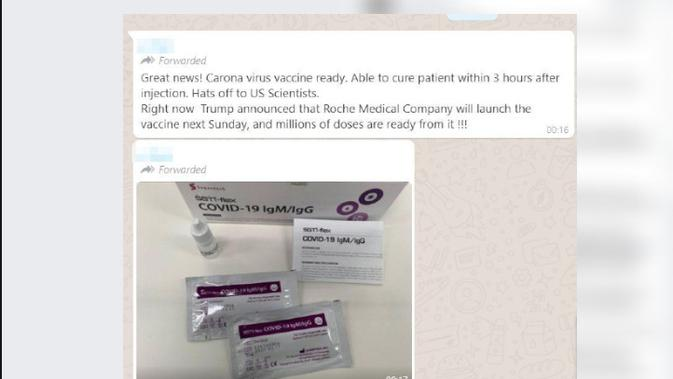 Cek Fakta: Hoaks Foto Vaksin COrona COVID Buatan AS Sudah Tersedia (Screenshot)