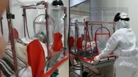 Kondisi Monica ketika memasuki ruangan operasi dengan mengikuti prosedur pasien COVID-19 pada Kamis (20/7/2020). (@mncbkr/twitter.com)