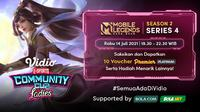 Live Streaming Vidio Community Cup Ladies Season 2 Mobile Legends Series 4, Rabu 14 Juli 2021. (Sumber : dok. vidio.com)